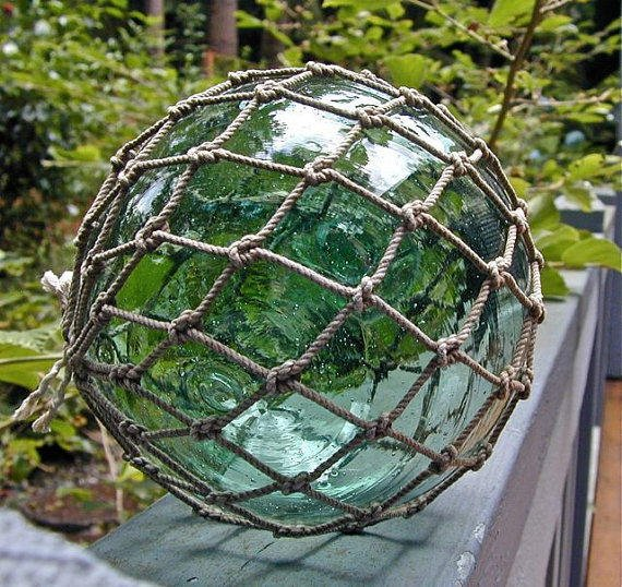Glass Fishing Float Japanese Collectible, Star Portal Netted, Home Decor