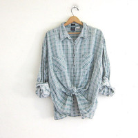 Vintage distressed wash out boyfriend flannel / thin mint green plaid shirt / destroyed grunge shirt / tomboy shirt