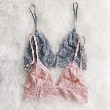 Gorgeous Lace Triangle Bralette Sheer Bustier Unpadded Mesh Lined bralet