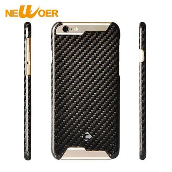 100% Carbon Fiber Case For iPhone 6 6s 6G Phone Cover For iPhone 6 S Shell + Tempered Glass Screen Protector NEWOER