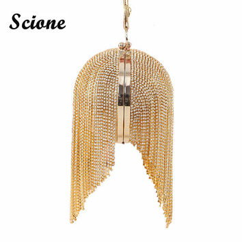 Gold clutch luxury evening clutch full diamond evening bags tassel chain party bag bling bling women round clutch purse w486