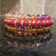 c.A.K.e by Ali Khan~Red Pink Bronze Pave~Faceted Glass Bead~Coil Bracelet~$27