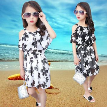 2017 New Summer Costumes Teenage Girls Dress Strapless Chiffon Bohemian Beach Dress Ruffles Floral Kids Party Dresses 5-12 Years