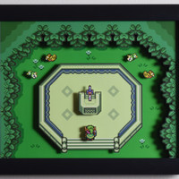 "The Legend of Zelda (SNES) - ""Master Sword"" 3D Video Game Shadow Box with Glass Frame"