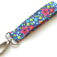 Vivid Floral Printed Fashion Wristlet Womens Floral Keychain Girls Fashion Lanyards Spring Flowers Key Fob Floral Accessories for Wrist