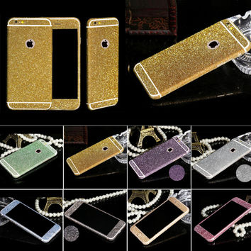 Sparkling rhinestone sweet deco case phone 10 colors bling diamond sticker For Apple iphone 6 6s colourful sticker