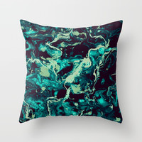 Neon cyan Glow splash on black Liquid paint art Throw Pillow by maria_so