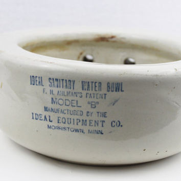 Ideal Sanitary Water Bowl Crock, Red Wing Crock