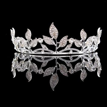 Silver Crystal Leaf Rhinestones Flower Tiara Bridal Wedding Crown Headbands