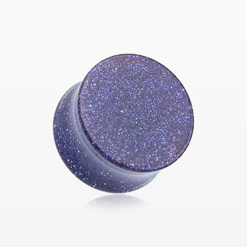 A Pair of Glitter Shimmer Acrylic Double Flared Ear Gauge Plug