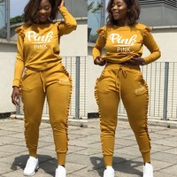 Victoria's Secret Pink Fashionable Women Casual Print Long Sleeve Top Trousers Set Two-Piece Yellow