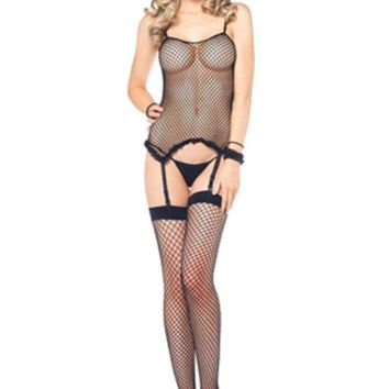 VONE5FW 3Pc. Industry Net Cami Garter, G-String And Stocking in BLACK