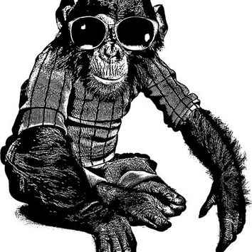 monkeys chimpanzee wearing sun glasses clip art png graphics digital download animal printable wall art for t shirts, totes, cards, pins