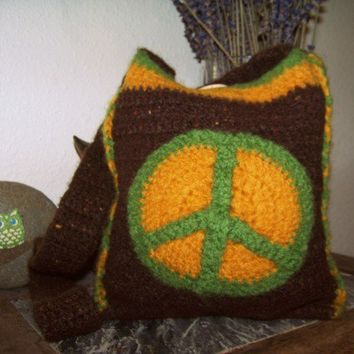 Peace Bag One of A Kind Crocheted Felted by peacelovecreations