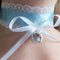 Cosplay Baby Blue White Lace Bell Bdsm Collar Maid Choker Lolita Costume Cat Neko Kitten Play Pet Slave Sub Fetish Anime Kinky Sexy