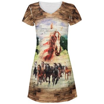 4th of July Wild Horse Mustang Patriot Juniors V-Neck Beach Cover-Up Dress