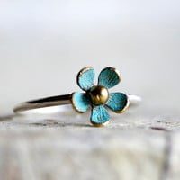 TINY DAISY BLUE ring , stacking ring , patina ring , spring ring , flower ring , Easter ring , on sale ring , Mothers day gift ring