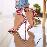 Gingham Strappy Lace Up Sandals 3 Colors