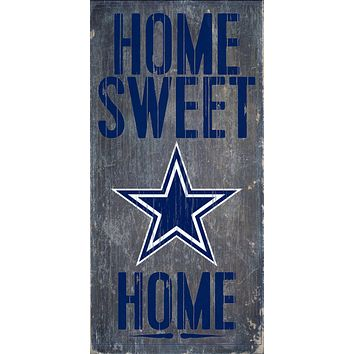 """Dallas Cowboys Wood Sign Home Sweet Home 6""""x12"""""""