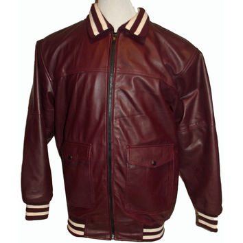 Mens Leather Jacket Burgundy Varsity Custom Made Leather Nappa Sheepskin as customers picture