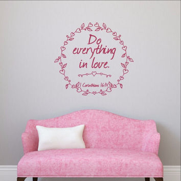 Do Everything in Love with Heart Frame Vinyl Wall Decal 22501