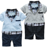 Baby Gentleman Plaid Romper Suit 0-24 Months