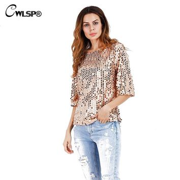 CWLSP 2017 Women Pink Sequins T Shirt Loose Bling Beads Blusas Tops Camiseta Sexy one shoulder T-Shirt vetement femme