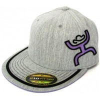 HOOey Cap Solo Heather Grey and Purple Premium Fitted Cowboy Cap