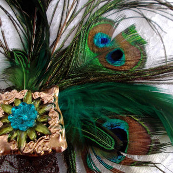 Peacock Steampunk Fascinator with Lace Veil by DemimondeArt