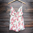 soft vintage floral print open back romper - cream