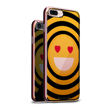 EMOJI WITH HEART SHAPED EYES DESIGN CHROME SERIES CASE IN TITANIUM BLACK FOR IPHONE 6/6S PLUS