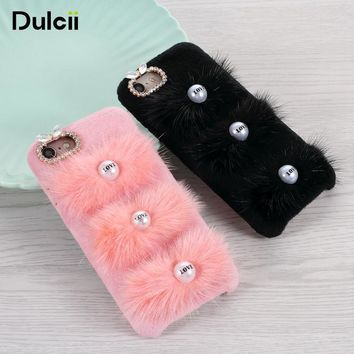 Dulcii For iPhone 8 Plus Case 3D Rabbit Ladies Rhinestone Fur PC TPU Mobile Shell for iPhone 8 Plus/7 Plus 5.5 inch - Pink