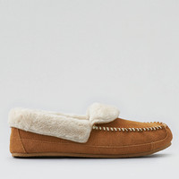 AEO Suede Foldover Slipper, Tan