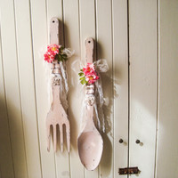 Shabby Chic Vintage Pink Decorative Fork and Spoon,  Large Wood Fork and Spoon Wall Decor, Pink Kitchen Decor, Wall Hangings, Fork and Spoon