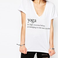 ASOS T-Shirt With V Neck And Yoga Definition Slogan