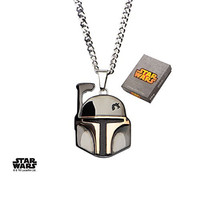 Star Wars Jewelry Unisex Boba Fett Helmet Stainless Steel and Black Ion-Plated Pendant Necklace, 24""