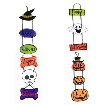 Wizard Hat Ghost Skull Pumpkin Paper Banner Bunting Happy Halloween Hang Tag Pendant Halloween Decoration Props Party Supplies