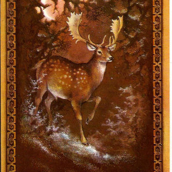 Deer in winter forest, Russian Postcard, New Year, Vintage Christmas unused