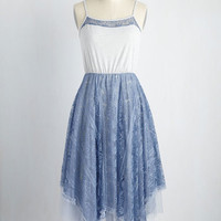 Ryu Long Time No Whimsy Lace Dress in Cornflower | Mod Retro Vintage Dresses | ModCloth.com