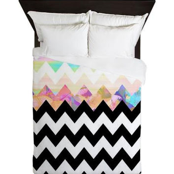 Chevron Queen Duvet Cover - White Magic - Ornaart Design