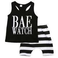 2016 summer baby boys girls letter Pattern clothes sets t-shirts and stripes shorts Casual outfits infant clothing newborn