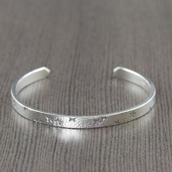 Starry night sterling silver cuff bracelet for men or women Adjustable