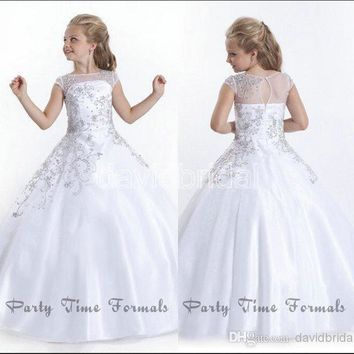 2017 Crystal Short Sleeves Flowergirl White Girl Dresses Gowns Little Girls Pageant Dresses Size Little Pageant Gowns for Girls