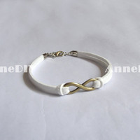 Infinity Bracelets - white bracelet with bronze Infinity charm, bracelet for girlfriend, leather Bracelet, birthday gifts