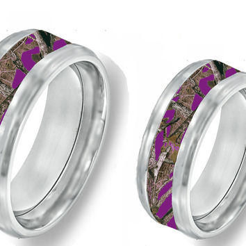 Purple Camouflage On Silver Tungsten Couples Band Rings