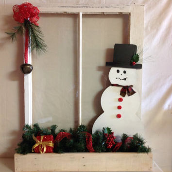 Holiday Snowman Window w/Box and Mini Light's. Made from repurposed window and pallet wood, snowman greenery, present, red bow and bell
