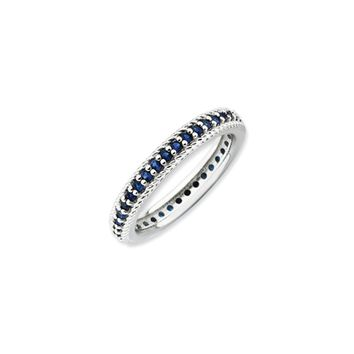 3.25mm Sterling Silver Stackable Created Sapphire Eternity Ring