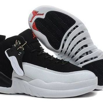 Hot Air Jordan 12 Retro Women Shoes GS Taxi Black White