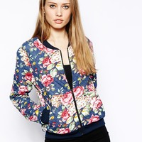 Club L Quilted Floral Bomber Jacket