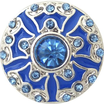 Chunk Snap Charm Blue Enamel and Blue Crystals 20mm